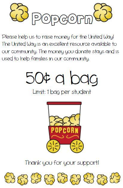 Popcorn Friday - United Way Goal
