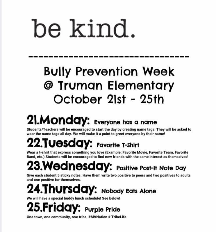Bully Prevention Spirit Week Flyer